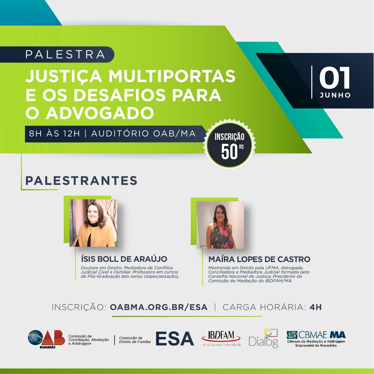 89fa8e666 23 Maio - 2019 OAB Maranhão promoverá debate sobre o modelo multiportas de  solução de litígios